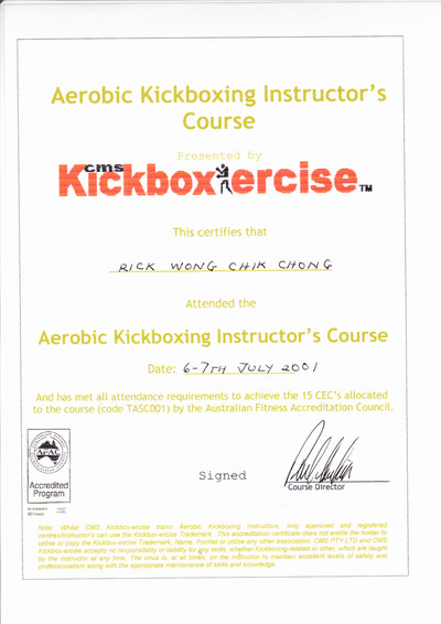 Photo of Rick Wong's Aerobic Kickboxing Instructor Certificate.