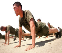 Picture of army recruits performing physical fitness training.