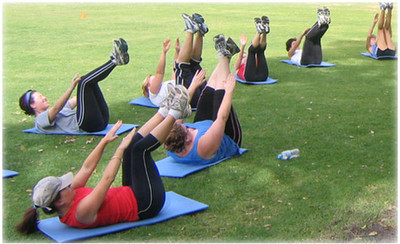 Image of a fitness boot camp in session.