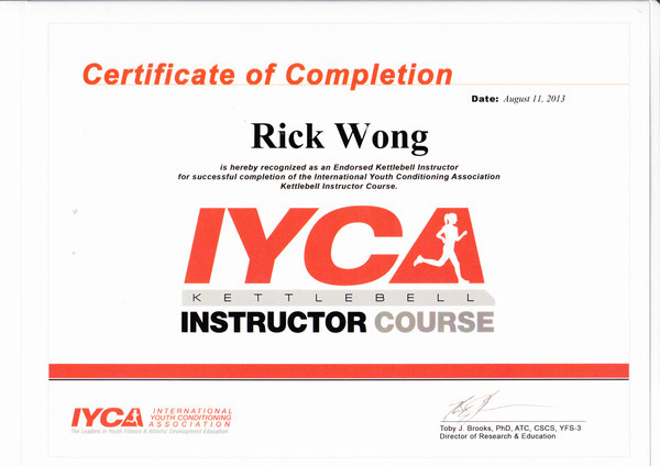 Photo of Rick Wong's kettlebell instructor certificate.