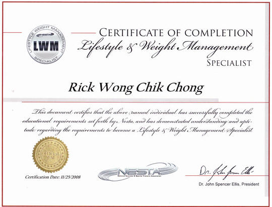 Photo of Rick Wong's Lifestyle and Weight Management Specialist Certificate