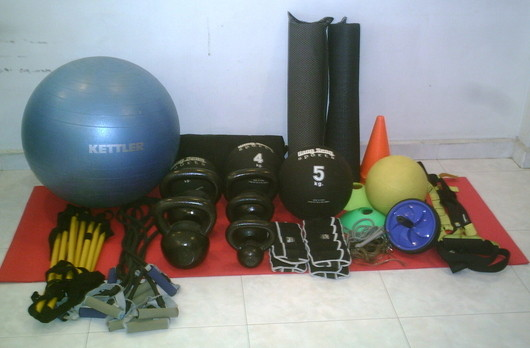 Image of some portable fitness equipment used in our Singapore fitness programs.
