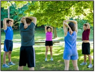 Photo of small group fitness training and boot camp in progress.