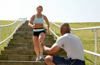 Photo of an outdoor personal training lesson in session.