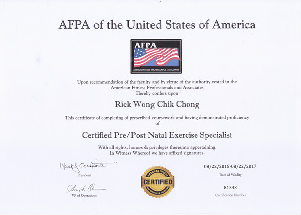 Photo of Rick Wong's Pre-Post Natal Fitness Specialist Certification.