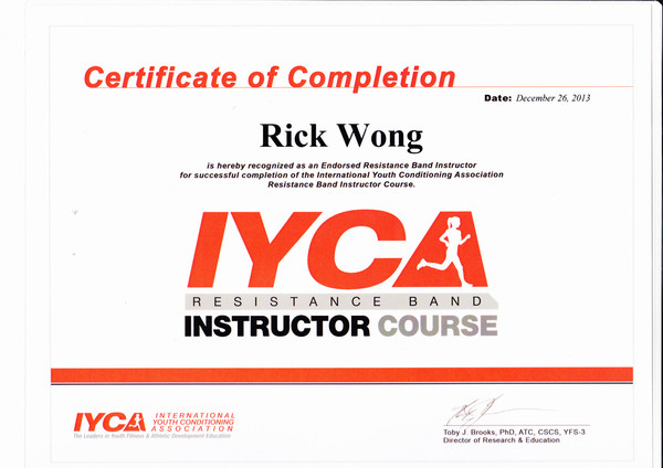Photo of Rick Wong's IYCA Resistance Band Instructor certificate.