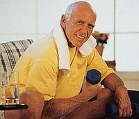 Photo of a male older adult engaged in senior fitness training.