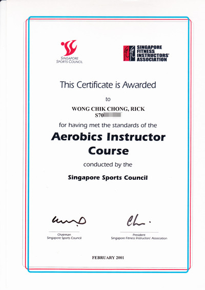 Photo of Rick Wong's Aerobics and Group Exercise Instructor Certificate.