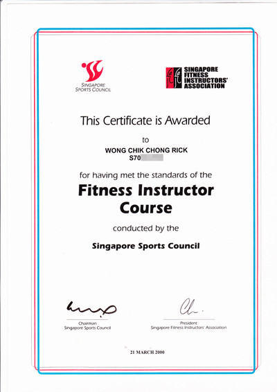 Photo of Rick Wong's fitness instructor certificate.
